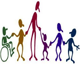 A group of illustrated people of all colors and abilities holding hands